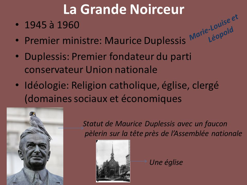 La Grande Noirceur 1945 à 1960 Premier ministre: Maurice Duplessis