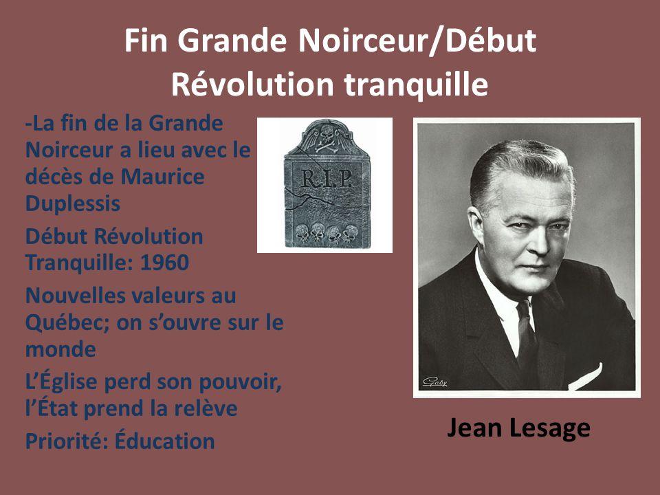 Fin Grande Noirceur/Début Révolution tranquille