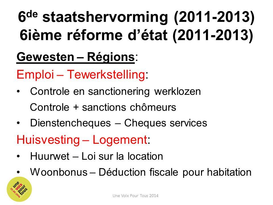 6de staatshervorming (2011-2013) 6ième réforme d'état (2011-2013)