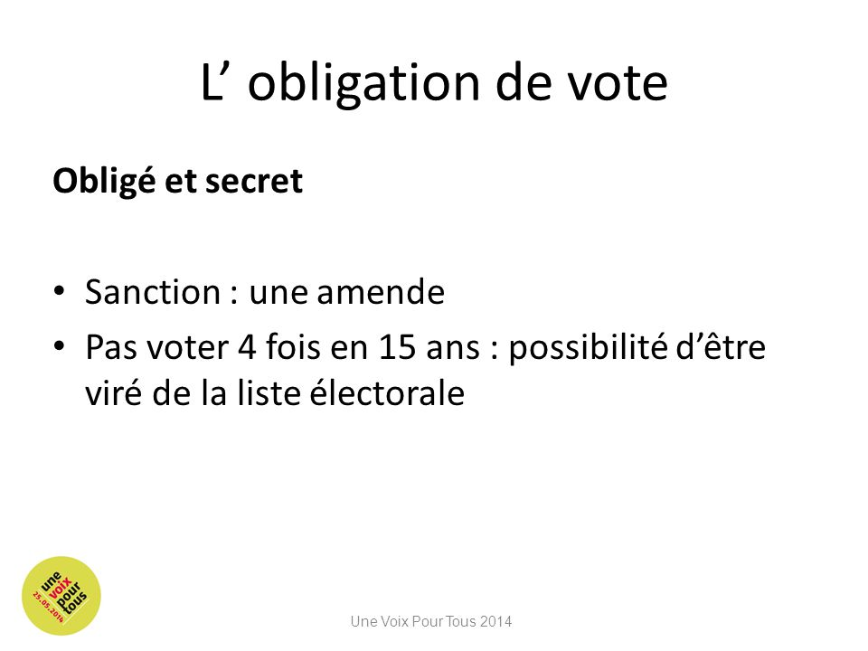 L' obligation de vote Obligé et secret Sanction : une amende