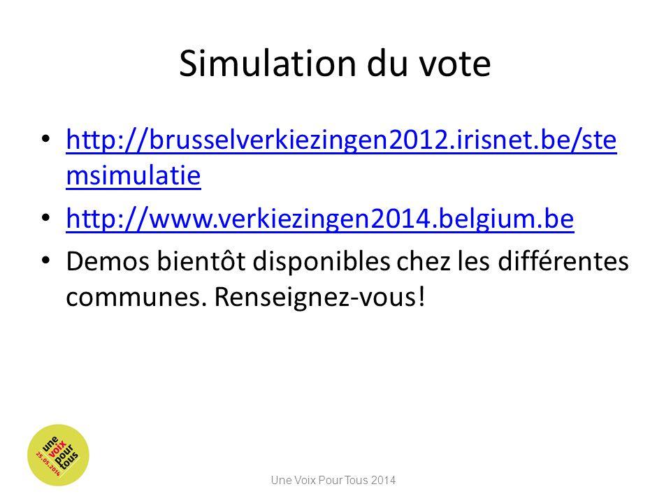 Simulation du vote http://brusselverkiezingen2012.irisnet.be/stemsimulatie. http://www.verkiezingen2014.belgium.be.