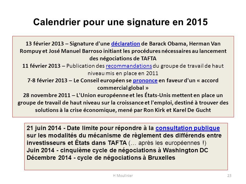 Calendrier pour une signature en 2015