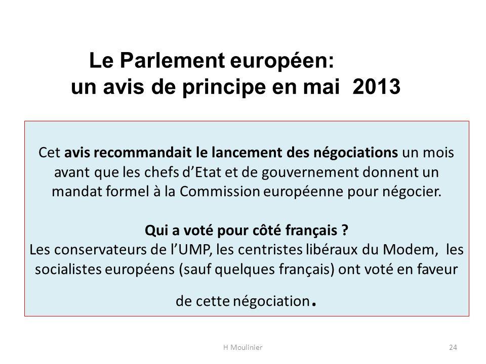 Le Parlement européen: un avis de principe en mai 2013