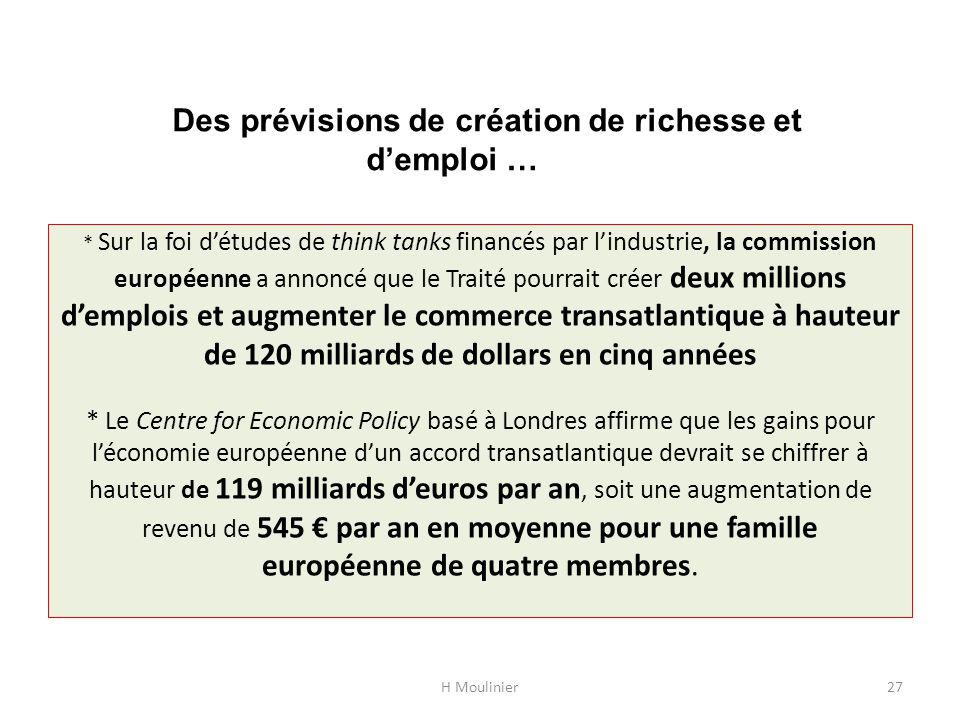 Des prévisions de création de richesse et d'emploi …