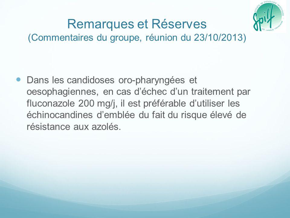 Remarques et Réserves (Commentaires du groupe, réunion du 23/10/2013)