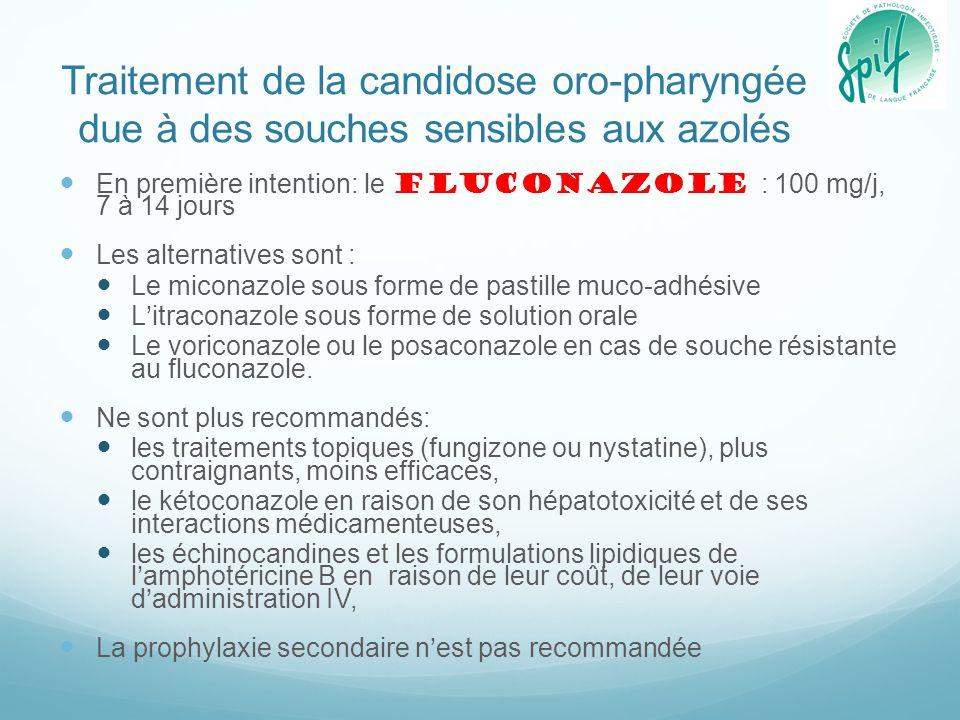 Traitement de la candidose oro-pharyngée due à des souches sensibles aux azolés