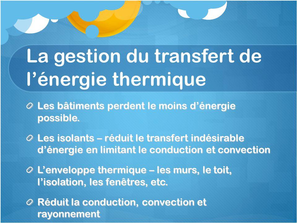 La gestion du transfert de l'énergie thermique