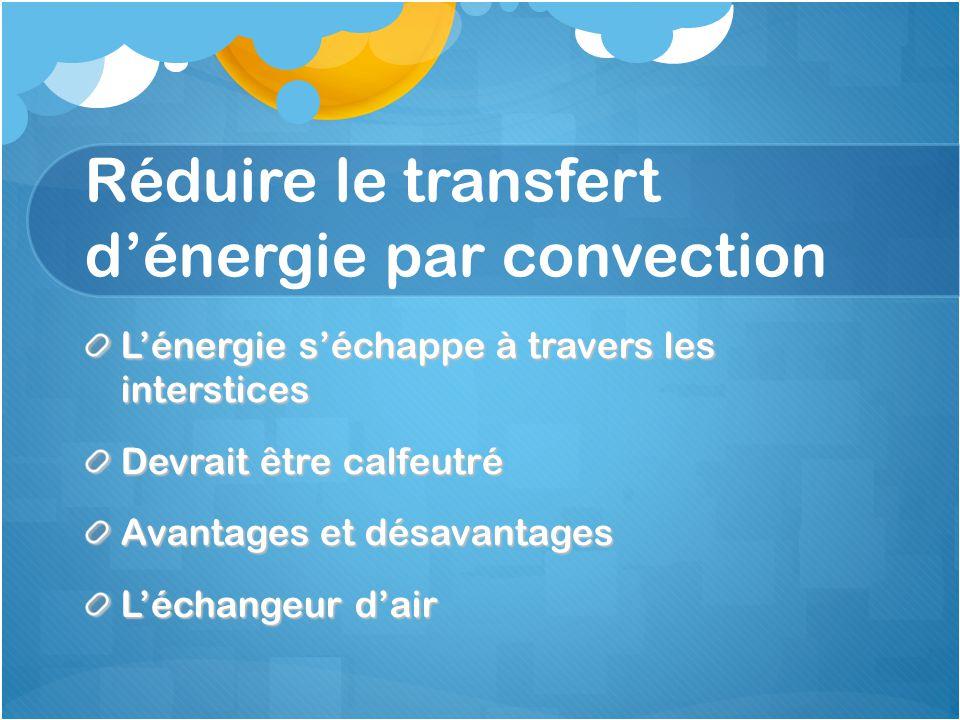 Réduire le transfert d'énergie par convection