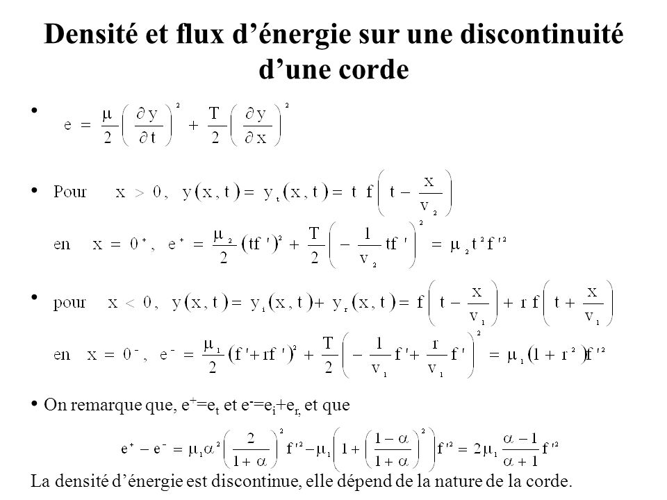 Densité et flux d'énergie sur une discontinuité d'une corde