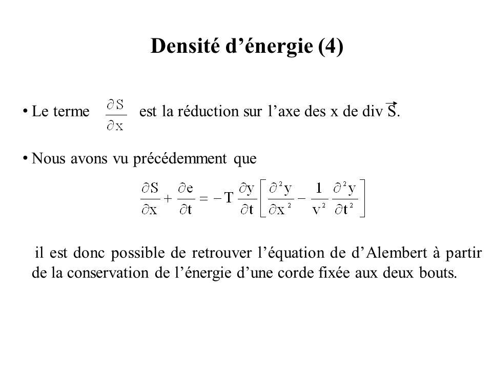 Densité d'énergie (4) Le terme est la réduction sur l'axe des x de div S. Nous avons vu précédemment que.