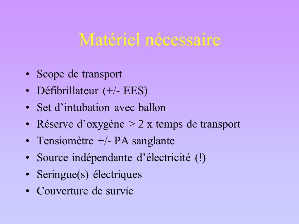 Matériel nécessaire Scope de transport Défibrillateur (+/- EES)