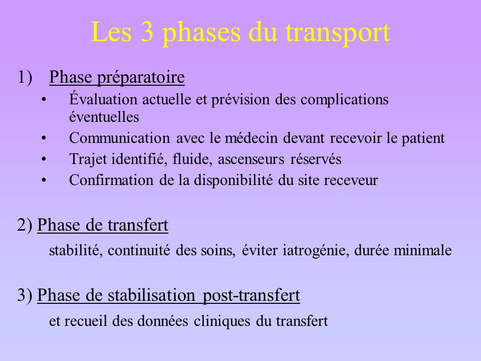 Les 3 phases du transport