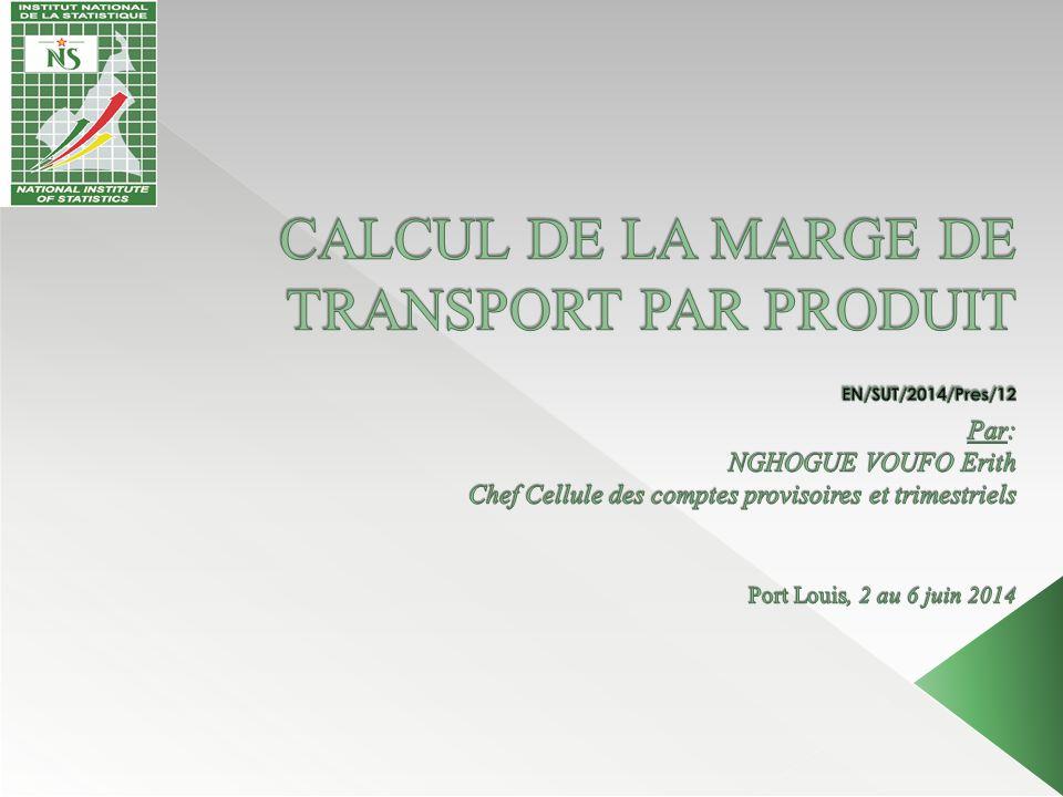 CALCUL DE LA MARGE DE TRANSPORT PAR PRODUIT EN/SUT/2014/Pres/12 Par: NGHOGUE VOUFO Erith Chef Cellule des comptes provisoires et trimestriels Port Louis, 2 au 6 juin 2014