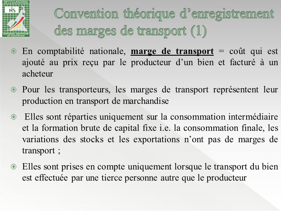 Convention théorique d'enregistrement des marges de transport (1)