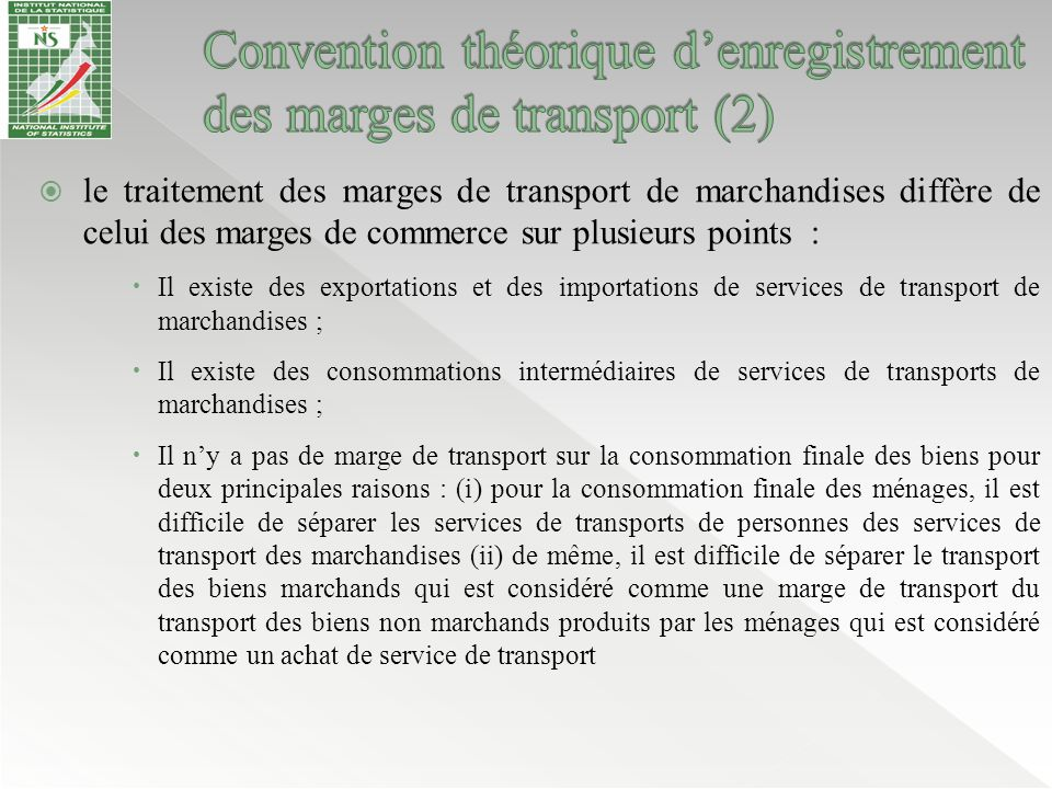 Convention théorique d'enregistrement des marges de transport (2)