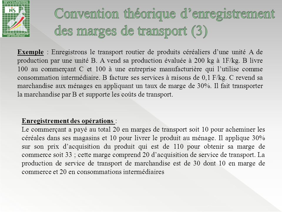 Convention théorique d'enregistrement des marges de transport (3)