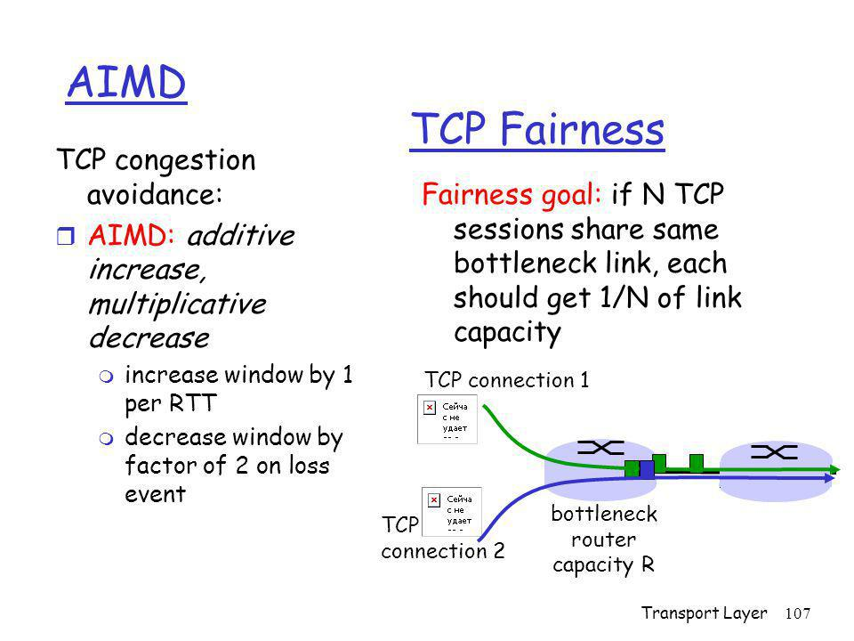 AIMD TCP Fairness TCP congestion avoidance: