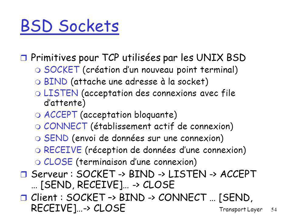 BSD Sockets Primitives pour TCP utilisées par les UNIX BSD