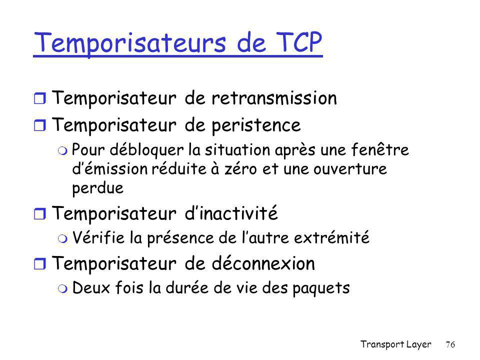 Temporisateurs de TCP Temporisateur de retransmission