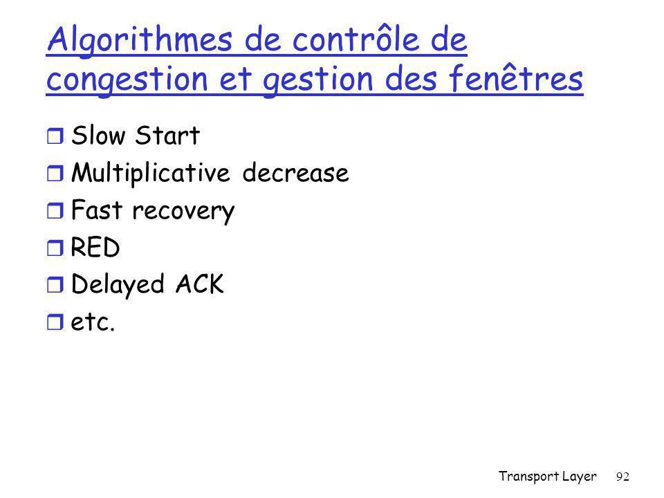 Algorithmes de contrôle de congestion et gestion des fenêtres