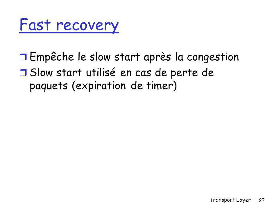 Fast recovery Empêche le slow start après la congestion