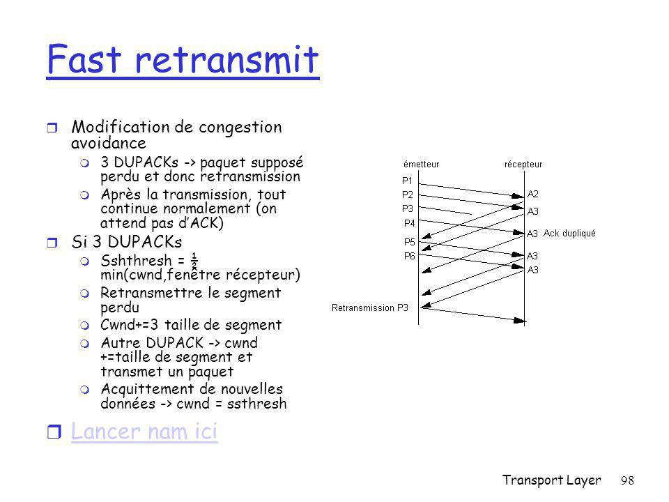 Fast retransmit Lancer nam ici Modification de congestion avoidance
