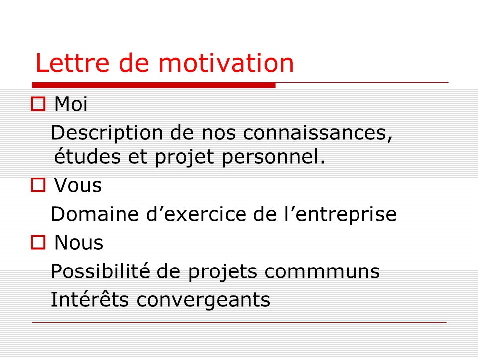 Lettre de motivation Moi