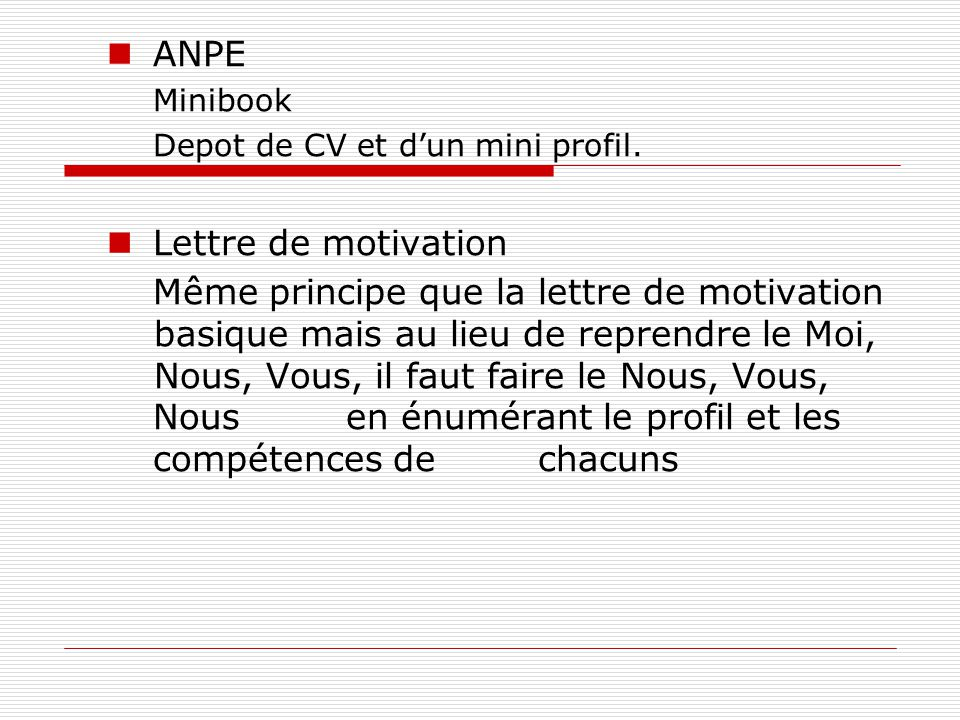 ANPE Lettre de motivation