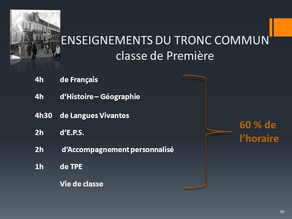 ENSEIGNEMENTS DU TRONC COMMUN