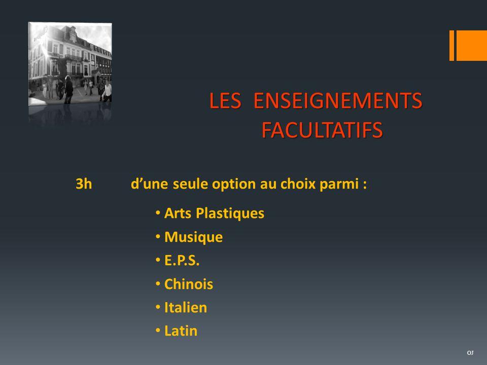 LES ENSEIGNEMENTS FACULTATIFS 3h d'une seule option au choix parmi :