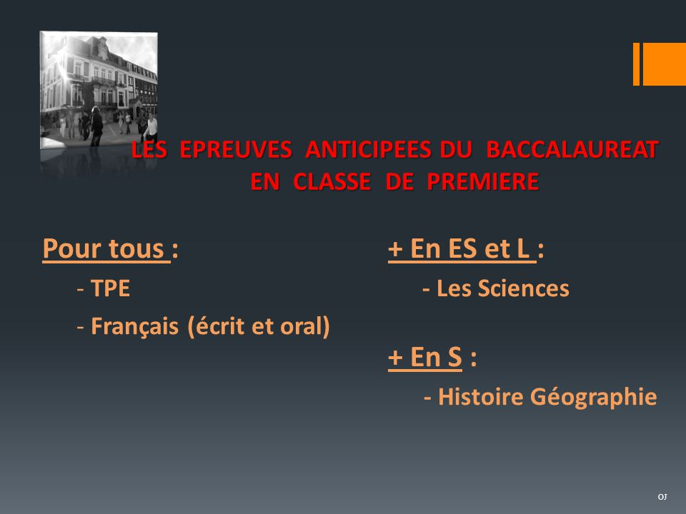 LES EPREUVES ANTICIPEES DU BACCALAUREAT