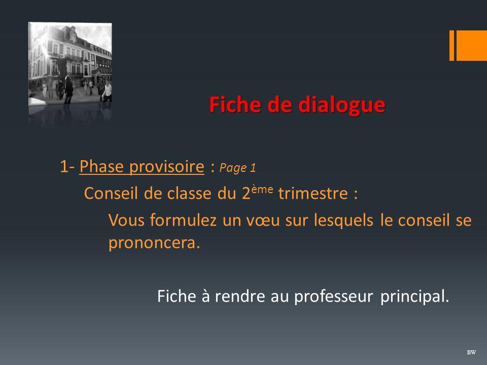 Fiche de dialogue 1- Phase provisoire : Page 1