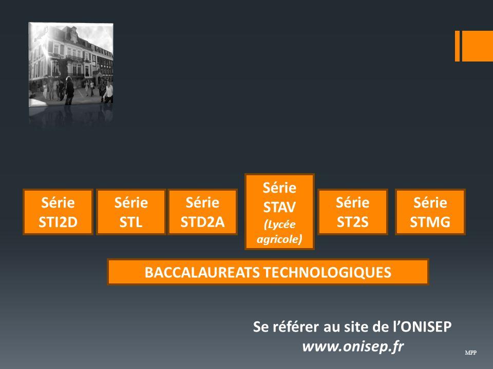 BACCALAUREATS TECHNOLOGIQUES Se référer au site de l'ONISEP