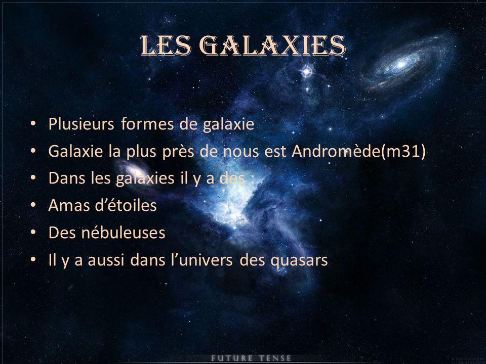 Les galaxies Plusieurs formes de galaxie