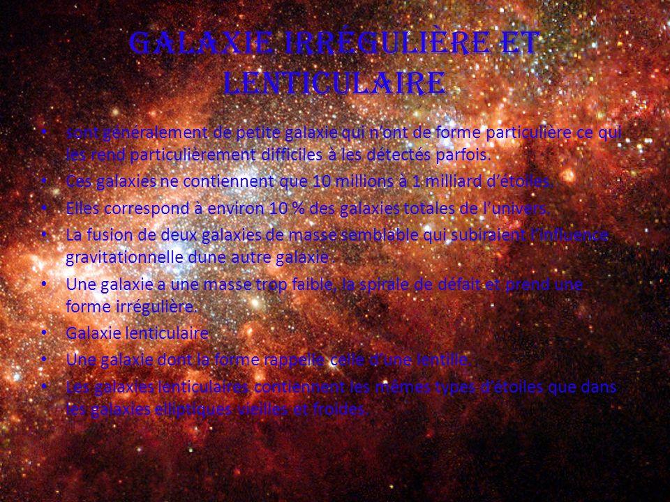 Galaxie irrégulière et lenticulaire