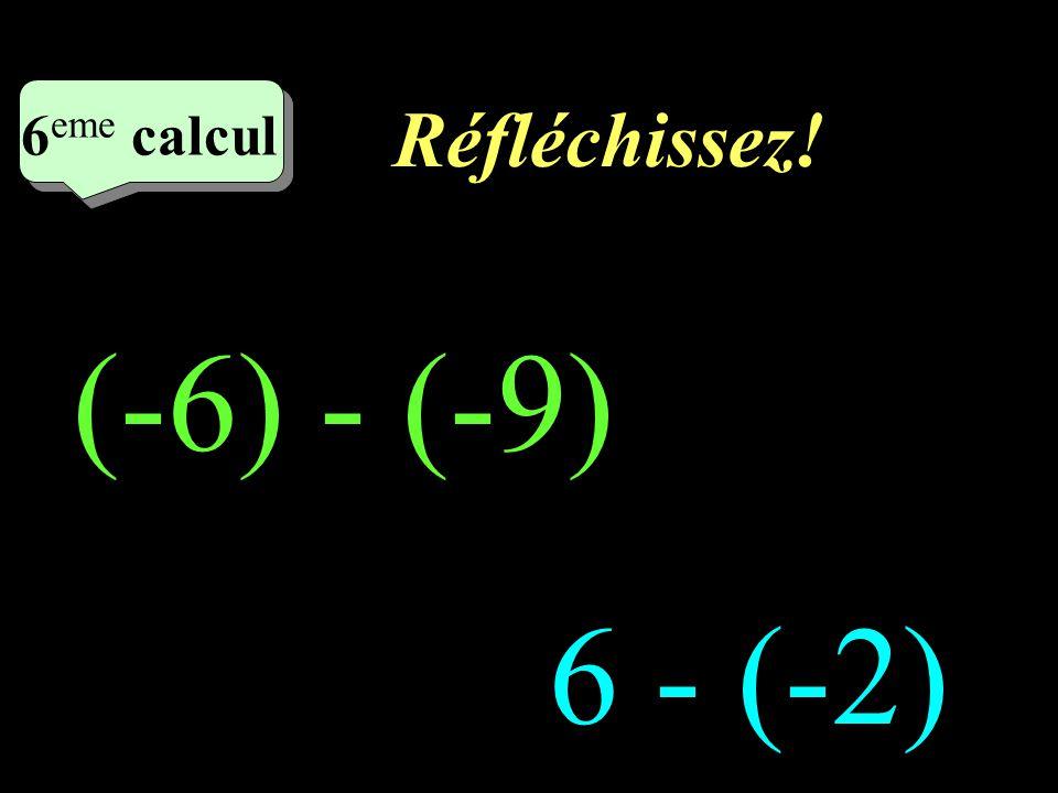 Réfléchissez! 6eme calcul 6eme calcul (-6) - (-9) 6 - (-2)