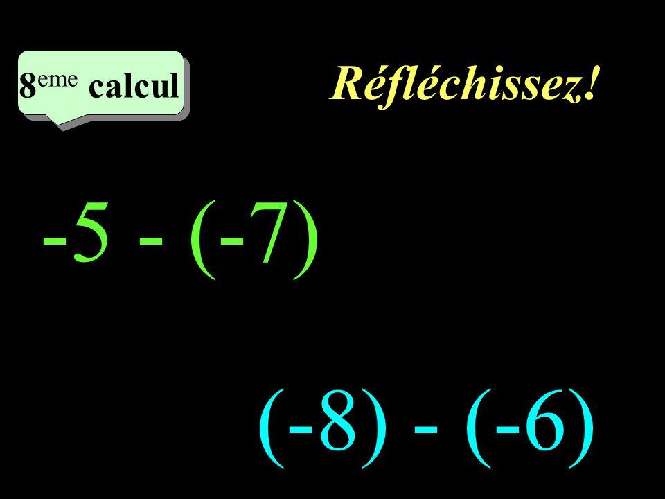 Réfléchissez! 8eme calcul 8eme calcul 1 -5 - (-7) (-8) - (-6)