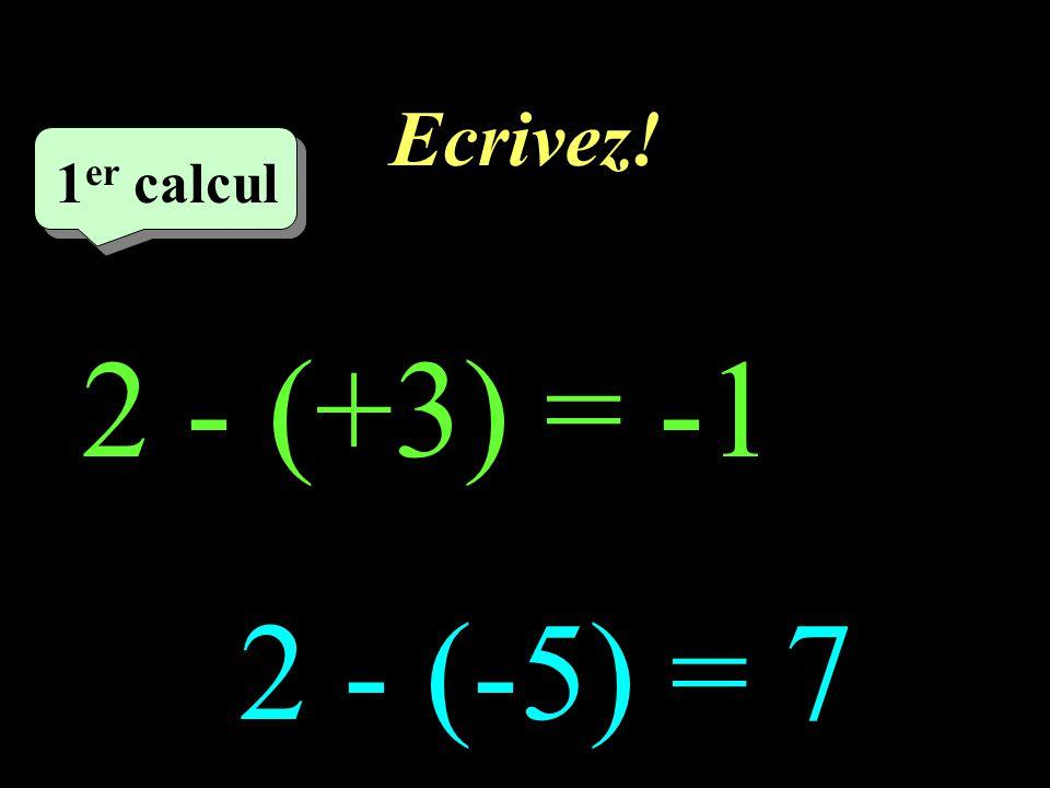 Ecrivez! 1er calcul 1er calcul 1 2 - (+3) = -1 2 - (-5) = 7