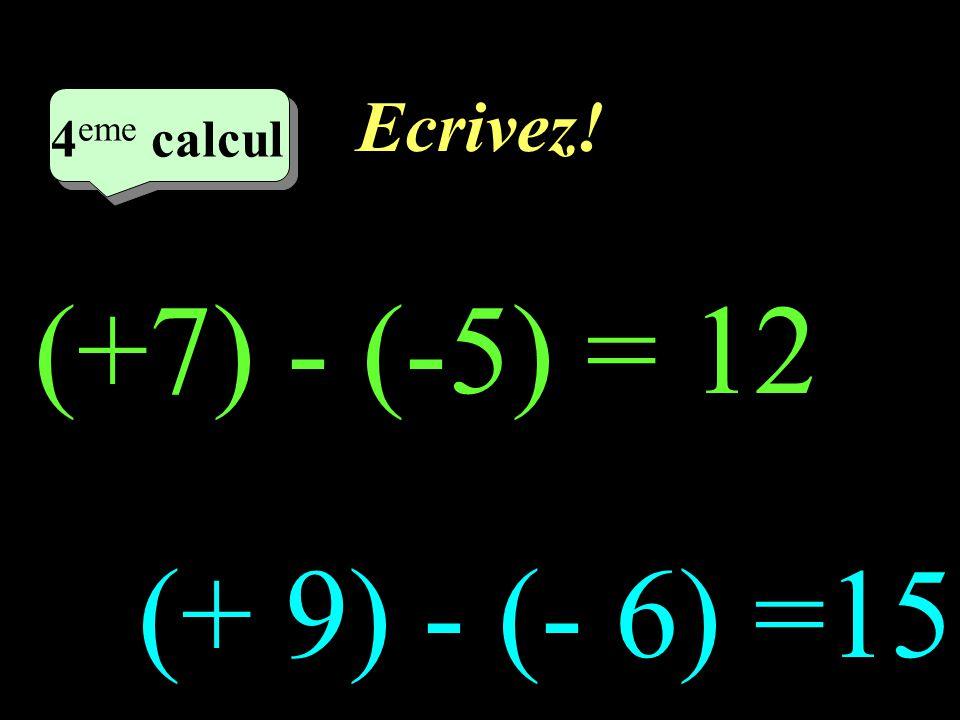 Ecrivez! 4eme calcul 4eme calcul (+7) - (-5) = 12 (+ 9) - (- 6) =15