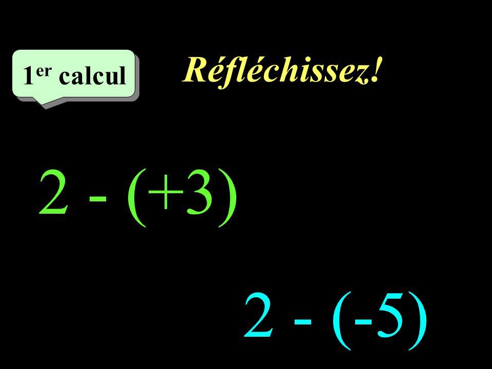 Réfléchissez! 1er calcul 1 2 - (+3) 2 - (-5)
