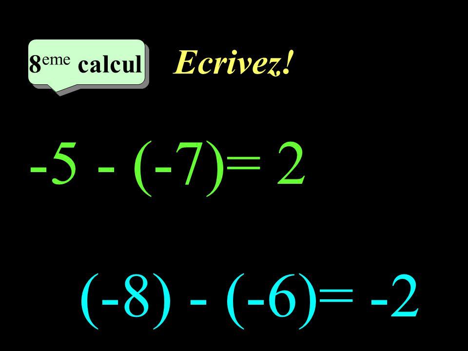 Ecrivez! 8eme calcul 8eme calcul 1 -5 - (-7)= 2 (-8) - (-6)= -2