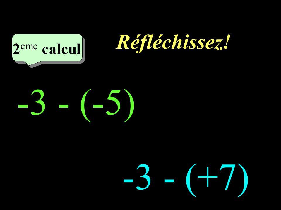 Réfléchissez! 2eme calcul 2eme calcul 1 -3 - (-5) -3 - (+7)