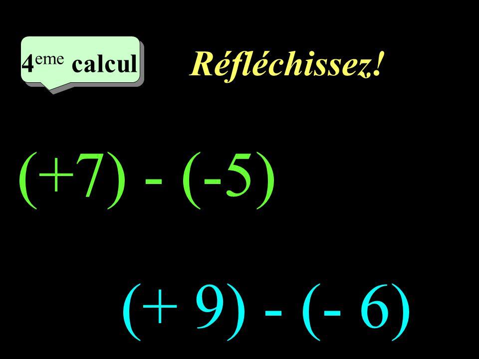 Réfléchissez! 4eme calcul 4eme calcul (+7) - (-5) (+ 9) - (- 6)