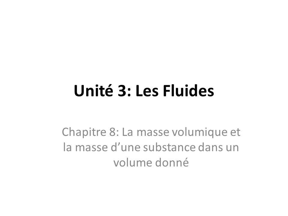 Unité 3: Les Fluides Chapitre 8: La masse volumique et la masse d'une substance dans un volume donné.