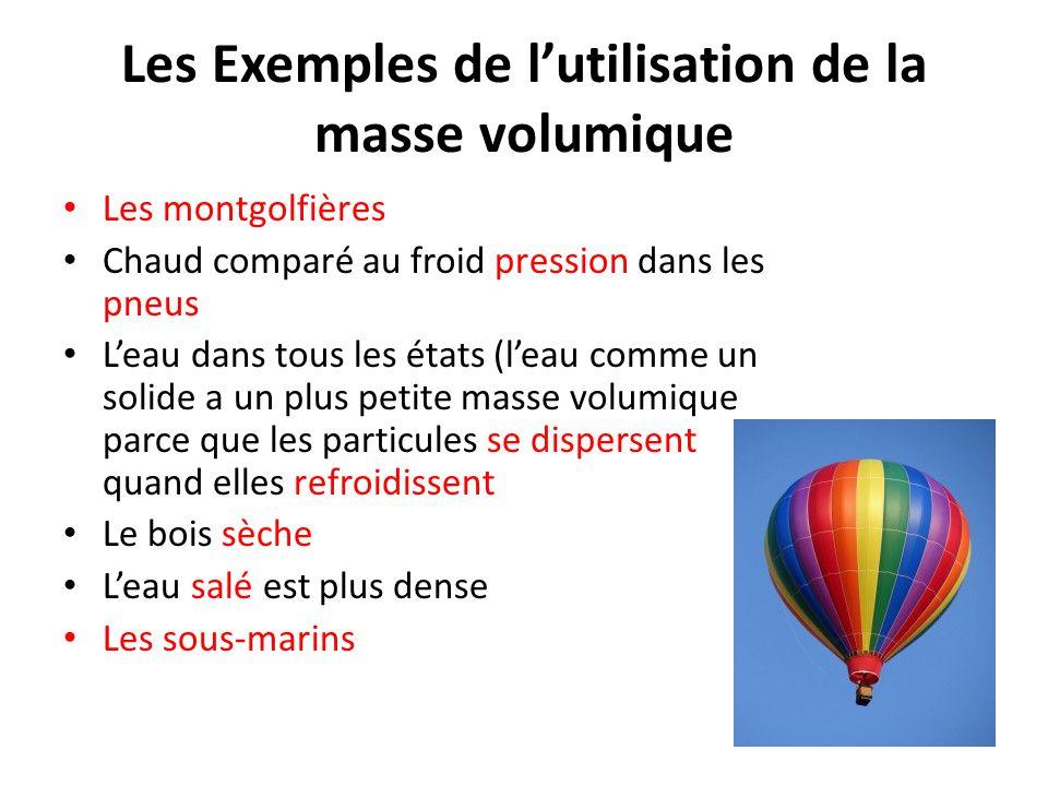 Les Exemples de l'utilisation de la masse volumique