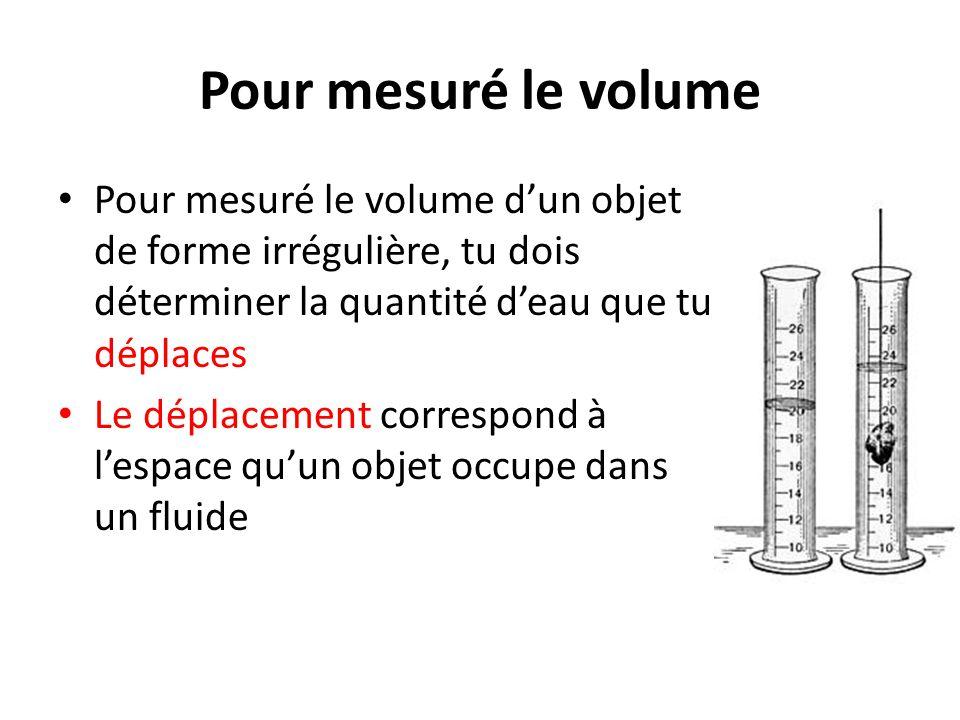 Pour mesuré le volume Pour mesuré le volume d'un objet de forme irrégulière, tu dois déterminer la quantité d'eau que tu déplaces.