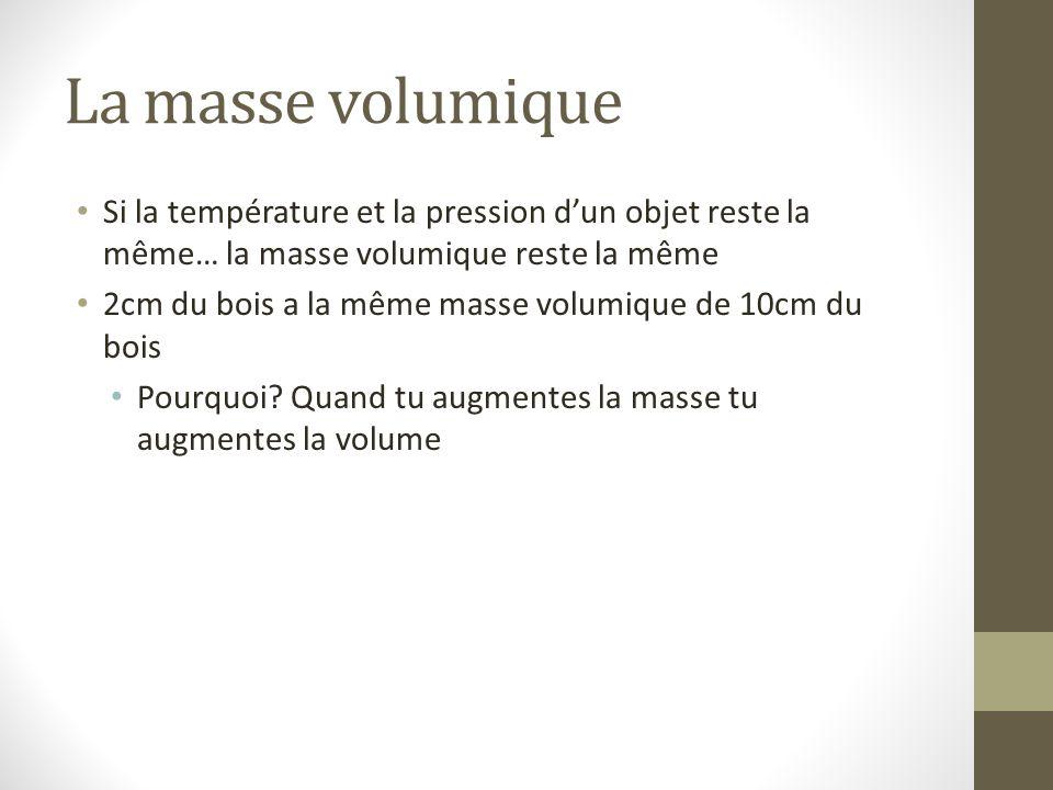 La masse volumique Si la température et la pression d'un objet reste la même… la masse volumique reste la même.