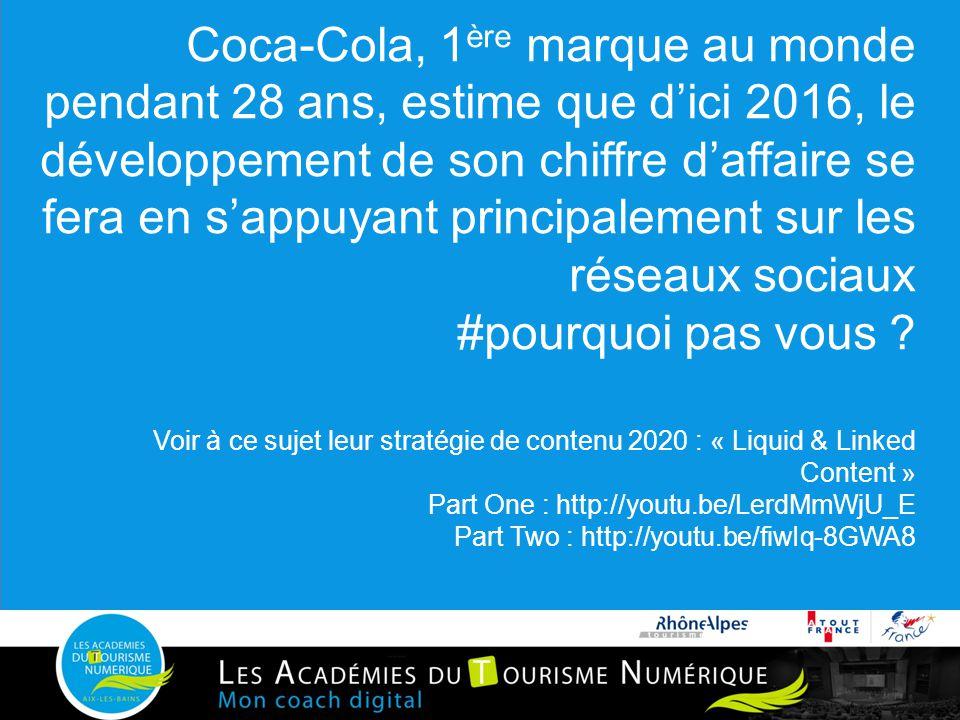 Coca-Cola, 1ère marque au monde pendant 28 ans, estime que d'ici 2016, le développement de son chiffre d'affaire se fera en s'appuyant principalement sur les réseaux sociaux #pourquoi pas vous .