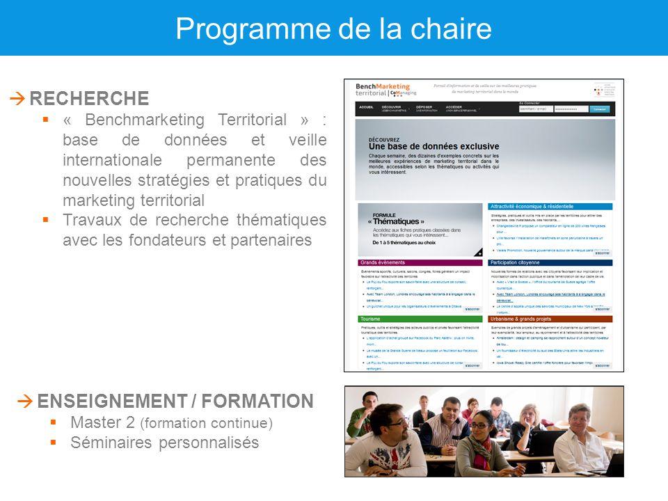 Programme de la chaire RECHERCHE ENSEIGNEMENT / FORMATION