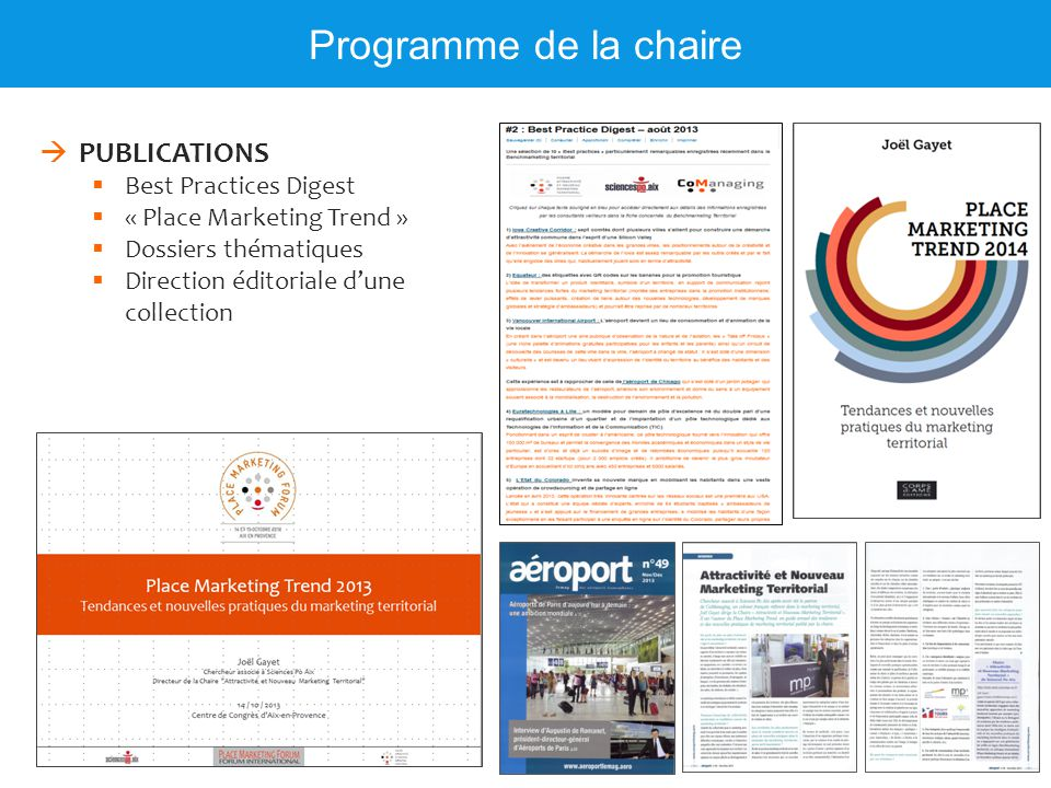 Programme de la chaire PUBLICATIONS Best Practices Digest